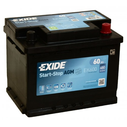Аккумулятор Exide EK600 AGM 60A/h 680A